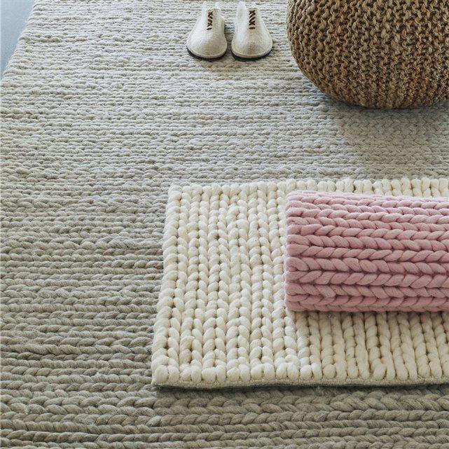 Tapis en pure laine, effet maille tressée, 3 tailles, Diano La Redoute Interieurs   La Redoute Mobile