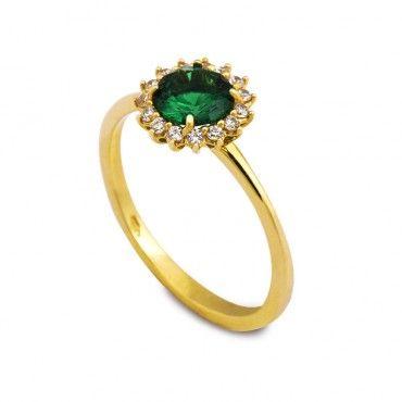 Κομψό διαχρονικό δαχτυλίδι ροζέτα από χρυσό Κ14 με πράσινο ζιργκόν και πολλά μικρά λευκά ζιργκόν γύρω του | Δαχτυλίδια ΤΣΑΛΔΑΡΗΣ στο Χαλάνδρι #ροζετα #ζιργκον #χρυσο #δαχτυλίδι