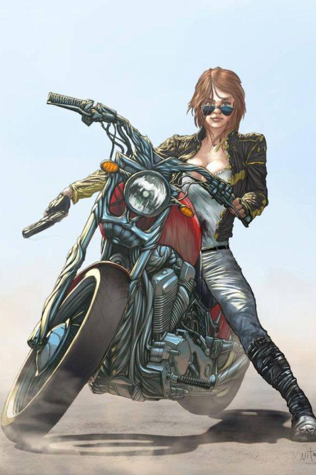 Comic biker chic