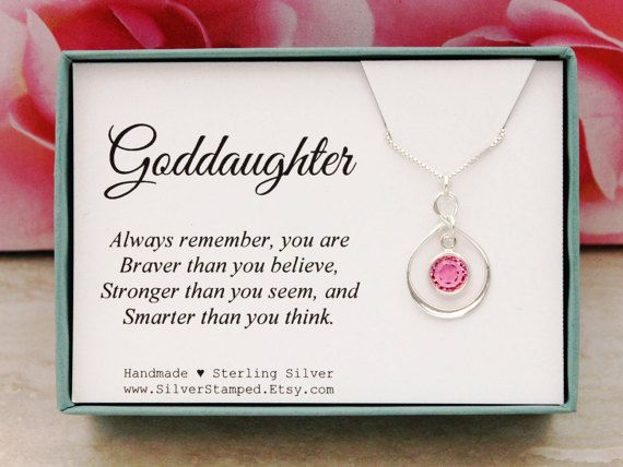 Gift for Goddaughter birthstone necklace sterling by SilverStamped