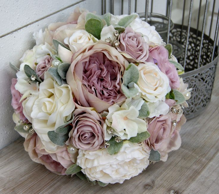 Mauve White Brides Wedding Bouquet With Roses Soft Green Lambs Ear Foliage