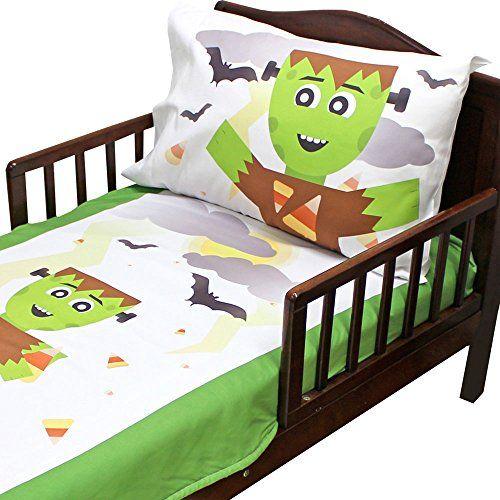 4pc RoomCraft Frankenstein Friends Toddler Bedding Set Halloween Blanket and Sheet Set @ niftywarehouse.com #NiftyWarehouse #Frankenstein #Halloween #Horror #HorrorMovies #ClassicHorror #Movies