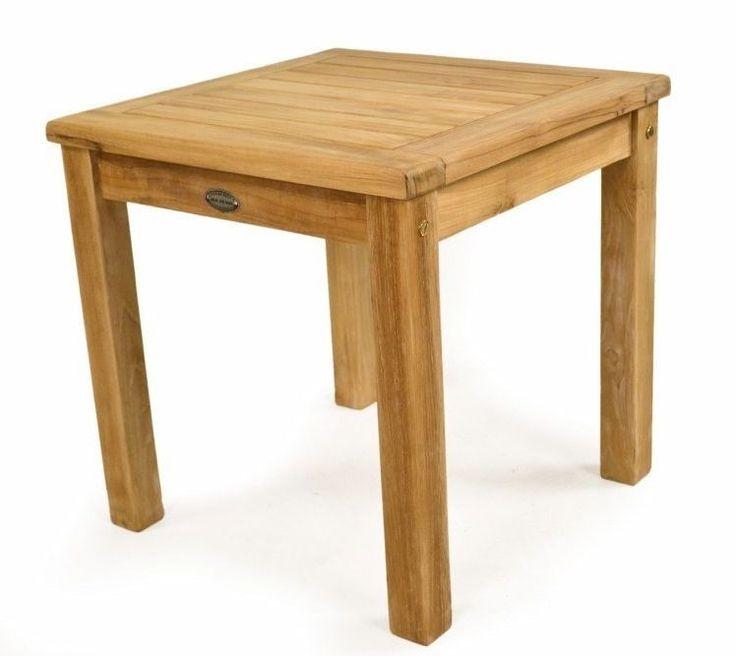 Teak Coffee Table Square Garden Patio Wooden Brown Outdoor Furniture Wood Steel