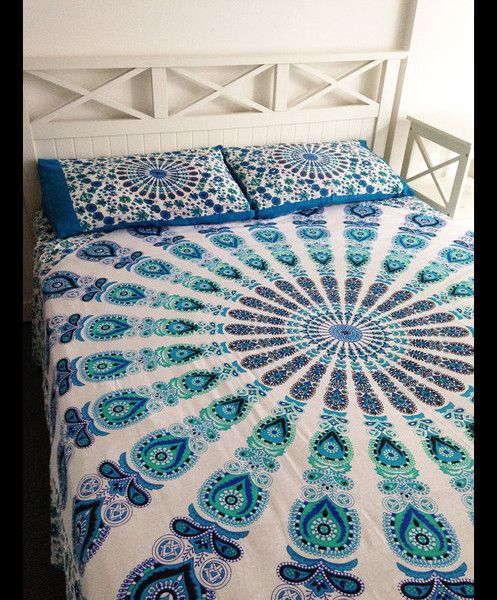 Bedspreads – Queen Cotton Mandala Duvet Cove (95 x 85 Cm) – a unique product by IndianCraftPalace on DaWanda