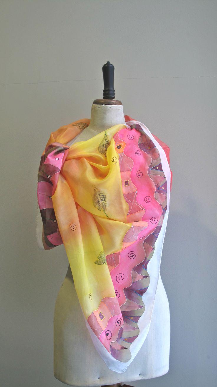 handmade paited silk scarf  180x90 cm
