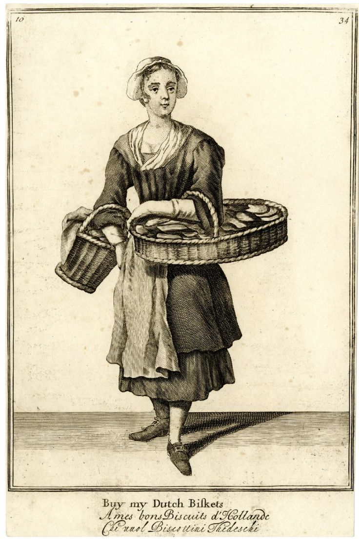 """Buy my Dutch biskets""  a biscuit seller standing to front with large flat basket on her left arm, a smaller one on her right; from late series of the Cries of London, the plate considerably reworked with head, neck of dress and shoes altered.  1688, reworked and published after c.1750 Etching and engraving"