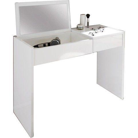 Coiffeuse laquée 1 tiroir miroir intégré LC - Blanc- Vue 2