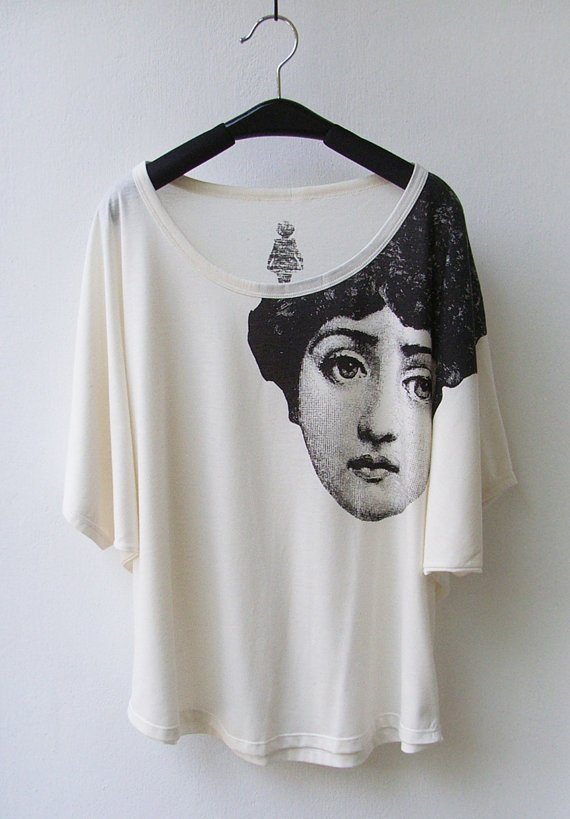 The Face - Fornasetti Tank Top T-Shirt in Cream/ Natural Color