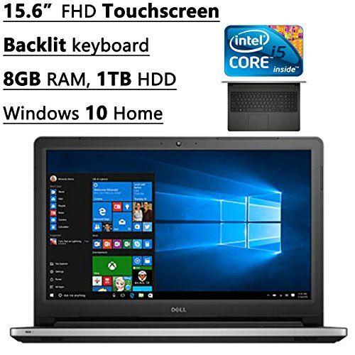"Dell Inspiron 15 5000 15.6"" FHD Touchscreen Laptop, Intel Core i5-6200U, 8 GB RAM, 1 TB HDD, DVD, Backlit keyboard, HDMI, Bluetooth, 802.11ac, RealSense 3D Webcam, Windows 10-MaxxAudio Pro"