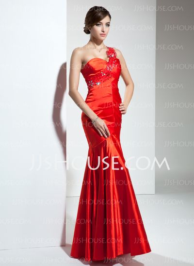 Bridesmaid+Dresses+-+$136.99+-+Mermaid+One-Shoulder+Floor-Length+Charmeuse+Bridesmaid+Dress+With+Ruffle+Lace+Beading+(007000820)+http://jjshouse.com/Mermaid-One-Shoulder-Floor-Length-Charmeuse-Bridesmaid-Dress-With-Ruffle-Lace-Beading-007000820-g820