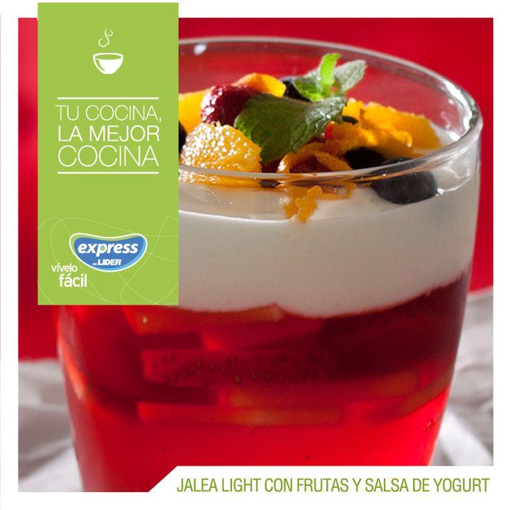Jalea light con frutas y salsa de yogurt / #RecetarioExpress #ExpressdeLider #Receta #Food #Foodporn #Jalea #Light #Yogurt