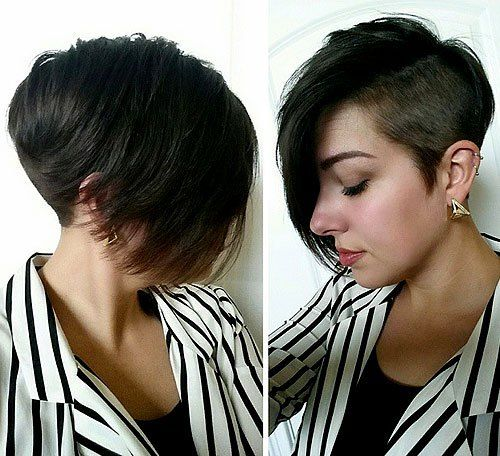 Edgy Hair Color Ideas for Brunettes | brunette asymmetrical pixie with long side bangs