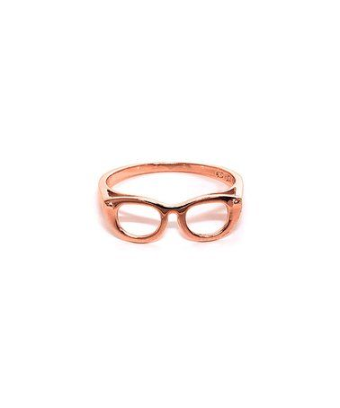 Another great find on #zulily! Rose Gold Geek Chic Glasses Ring #zulilyfinds