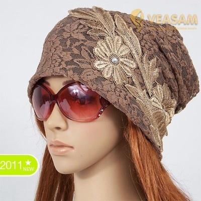 LADIES WINTER HAT BEANIES LACE FLOWER TOP GRADE CROCHET KNIT HAT RASTA SKI CAP