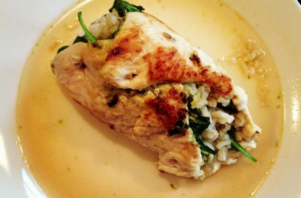 Foodista   Recipes, Cooking Tips, and Food News   Chicken Rollintini with Pesto, Baby Spinach & Brown Rice