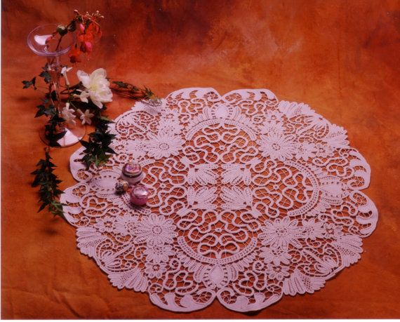 Instructional Pattern, Romanian Point Lace Victorian round table cloth, crochet, wedding gift, home decor