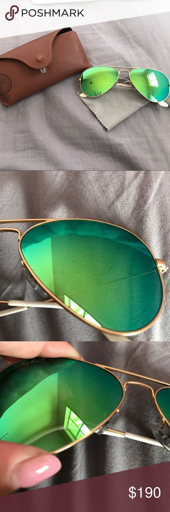 Customized ray-bans! Customized polarized aviator Ray bans! The smaller frame aviators. Green flash lens with matte gold frame! No scratches just black specs that are pictured! Ray-Ban Accessories Glasses