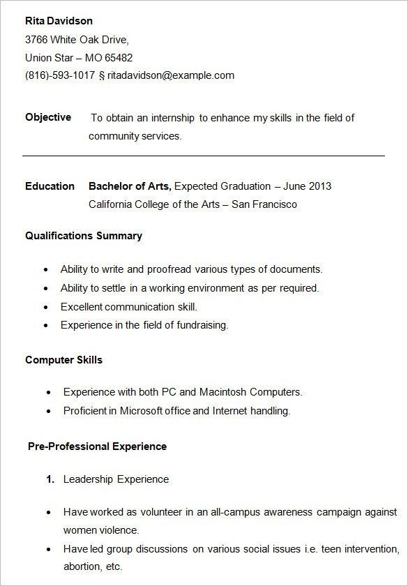 For College Students 3 Resume Templates Sample Resume Resume