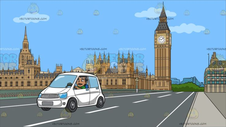 An Indian Man Driving A White Vehicle At Big Ben And House Of Parliament:  A man with black hair and mustache wearing a green shirt drives a four door white hatchback car. Set in a view of big ben and house of parliament along a stretch of a gray road of the westminister bridge during a clear sunny day .  #travel #clipart #cartoon #illustration #design #vectortoons