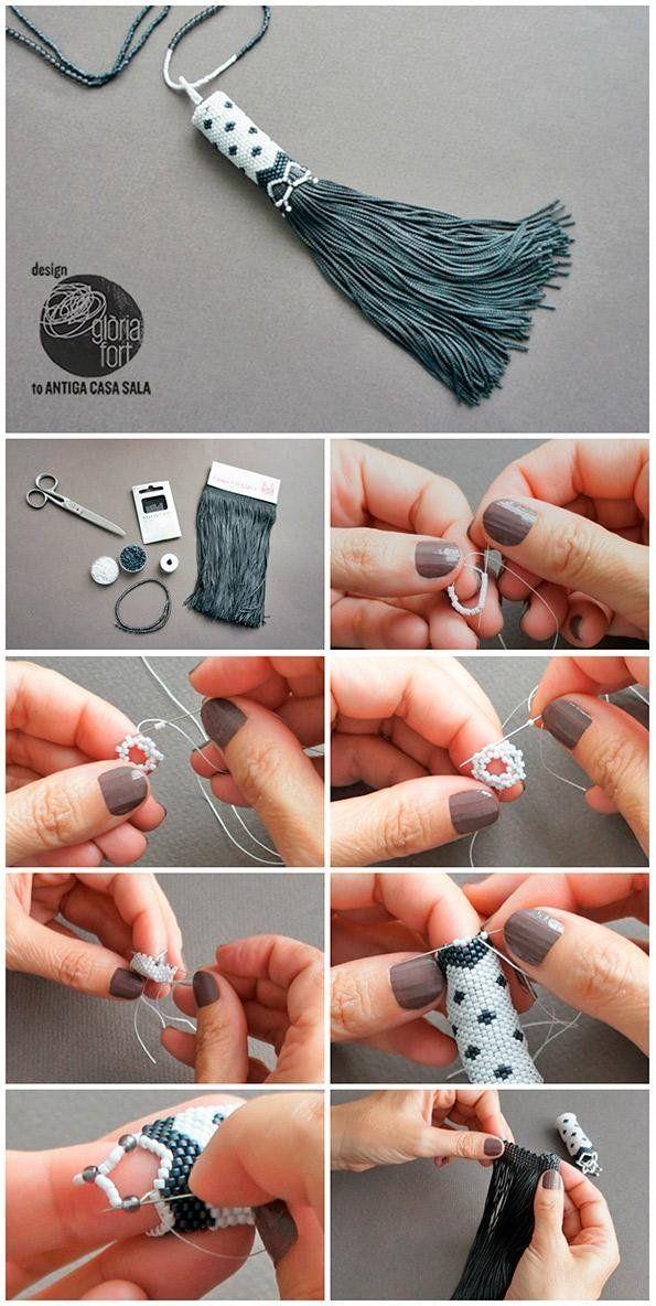 Cómo hacer una borla con tejido de cuentas | Manualidades