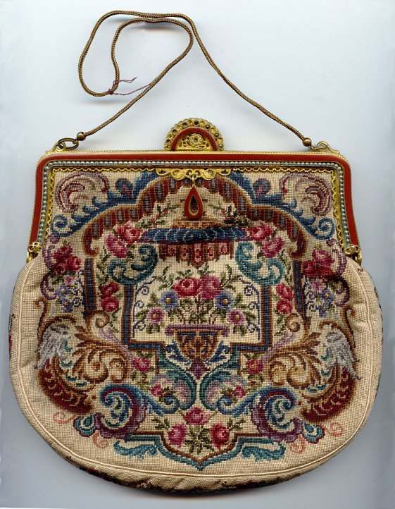 Petitpoint Purse with Jeweled  Enameled Frame Made in Austria. Click on image for more photos.
