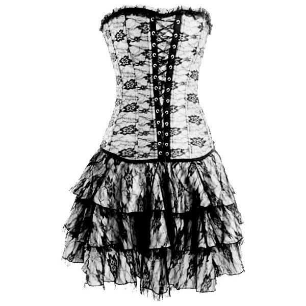 Gothic Inspired White lace up corset dress (16 AUD) ❤ liked on Polyvore featuring dresses, corset, short dresses, vestidos, goth corset, gothic corset dress, gothic corset and front lace corset