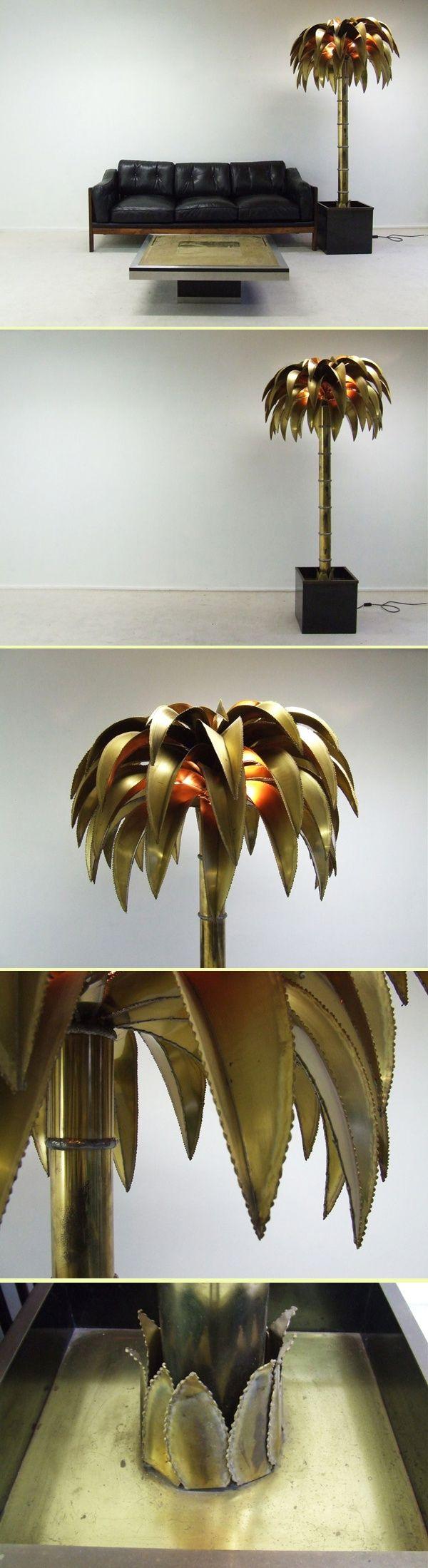 Maison Jansen Large standing brasscolor palmtree lamp