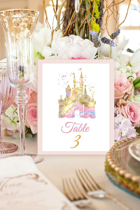 Disney Castle Watercolor Print Disney Table Numbers SET Of 10 Prints Disney  Wedding Table Wedding Decor Sign Table Gold Wedding Card