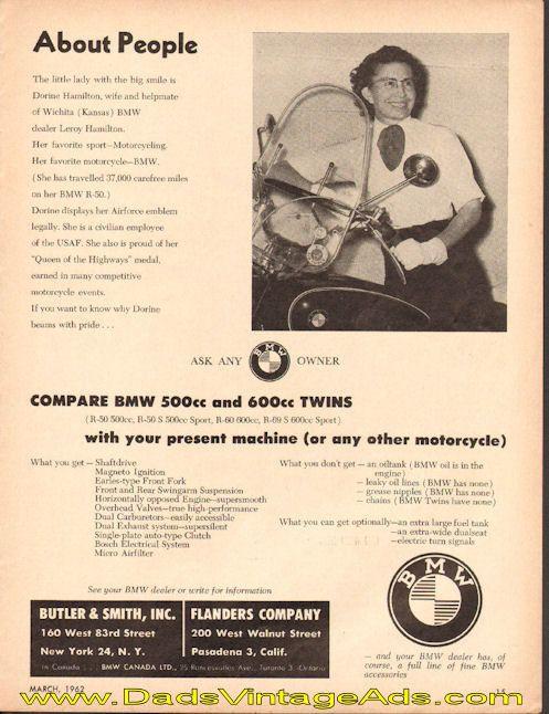 1962 BMW R-50 Wichita, Kansas BMW Motorcycle Dealer Ad #t62ca07
