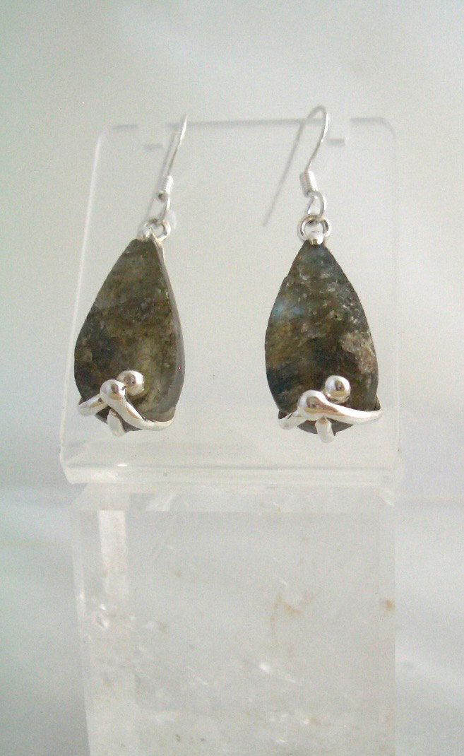 Natural IRIDESCENT LABRADORITE Waterdrop Gemstone, 925 Solid Sterling Silver Rustic Style Earrings!! by Ameogem on Etsy