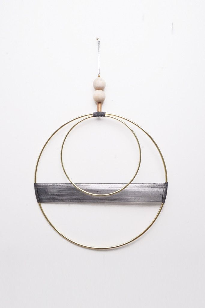 Double Circle With Off Slate Blue Thread Wall Hanging | Young & Able