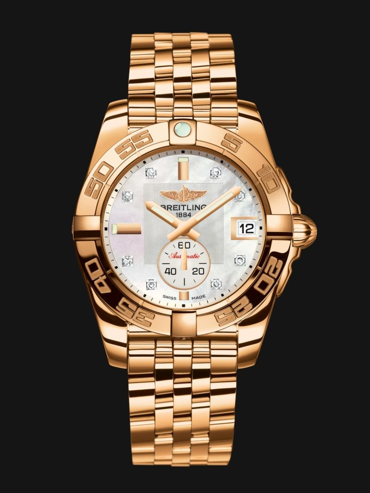Galactic 36 Automatic watch by Breitling - rose gold case and bracelet with silver diamond dial