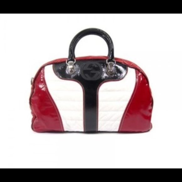Authentic Gucci bag Authentic Red white and black leather Gucci bag. PRICE IS FIRM!! Gucci Bags