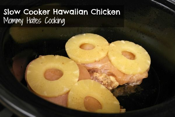 Slow Cooker Hawaiian Chicken--so good! I didn't have enough chicken, so i used pork loin chops. Kyle practically licked the plate clean.