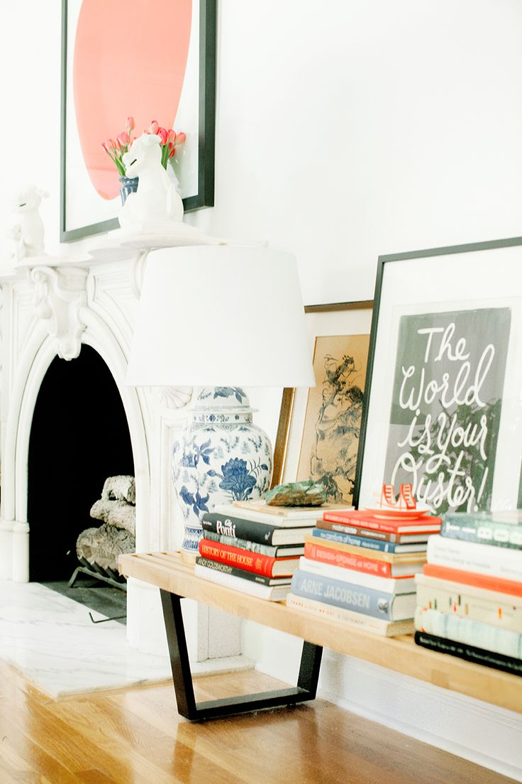 layered art, stacked books
