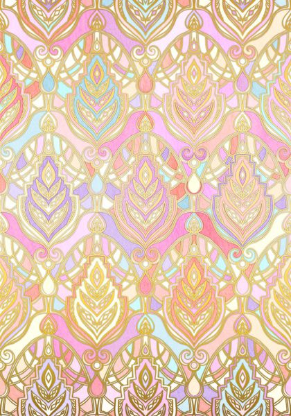 Rosy Opalescent Art Deco Pattern Art Print