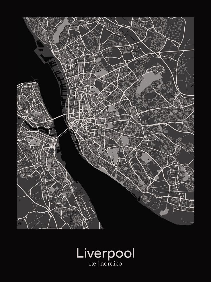 Liverpool map print Best 98 CITY Map