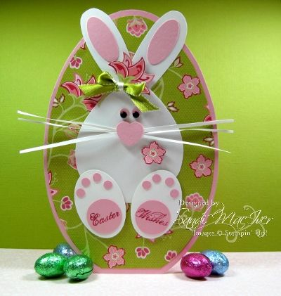 handmade Easter card ,.. adorable punch art bunny ... sitting on an egg ... luv it!!!