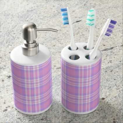 Pink Purple Lavender Plaid Gingham Check Girl Soap Dispenser And Toothbrush Holder - pink gifts style ideas cyo unique
