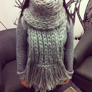 It's a grey day around here, our large wool scarf keeping Michelle toasty #ootd