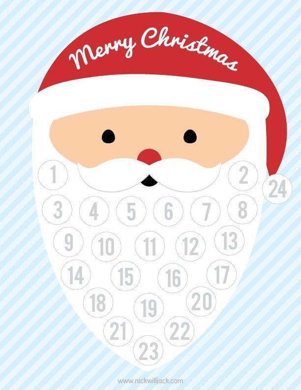 Free Printable Christmas Countdown - add cotton balls to Santa's beard to count down the days!