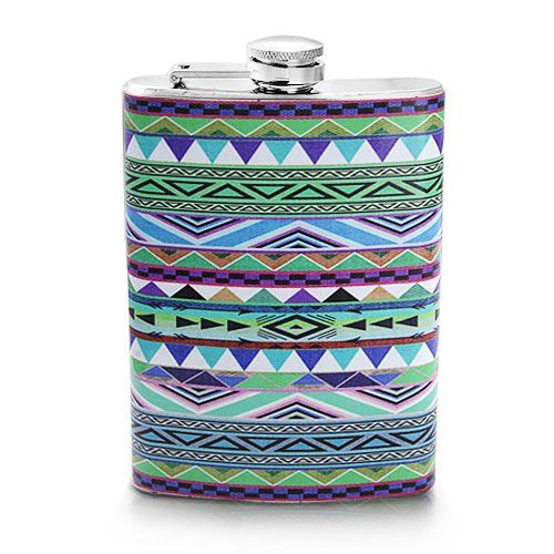Screw-on Top Stainless Steel Wine Hip 8oz Flask Aztec Design Pattern Blue Color