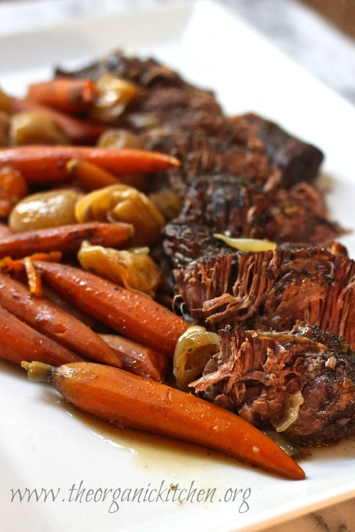 Crock Pot Roast with Baby Carrots and Shallots from The Organic Kitchen
