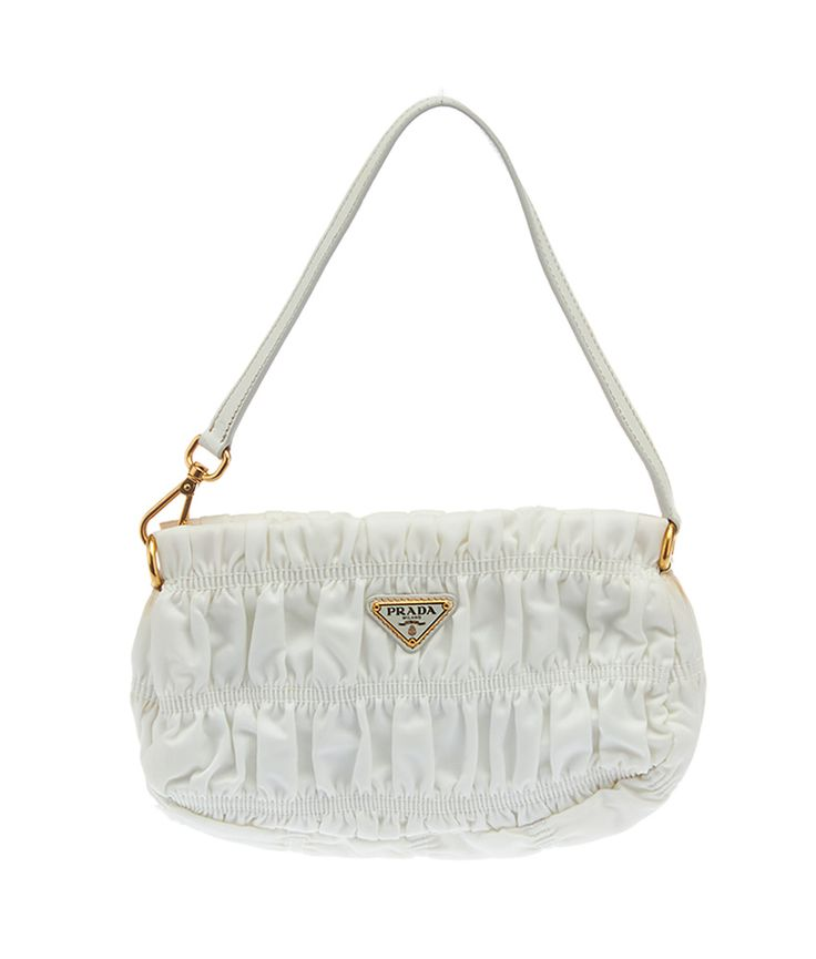 70381c3b7e02 ... shoulder bag f87aa b118c new arrivals this prada white pleated nylon  pochette bag is now available on our website for spain ...
