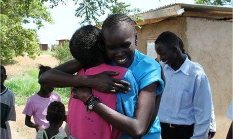 Supermodel Alek Wek visits a refugee camp in South Sudan. Photograph: UNHCR