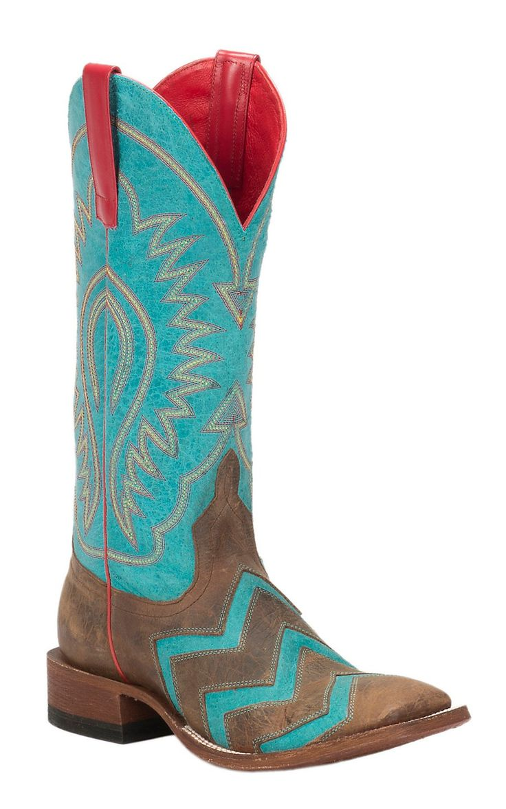 Anderson Bean Macie Bean Women's Toast Bison & Turquoise Chevron Inlay Double Welt Square Toe Western Boots   Cavender's