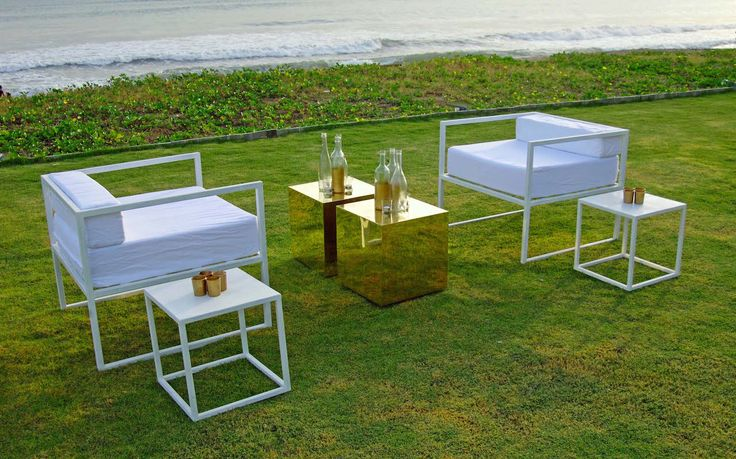 Contemporary Iron Collection | Low Cap Chair | 40 X 40 X 40 Cap Table | Brass 40 X 40 X 40 cubes | Cap comes in White and black