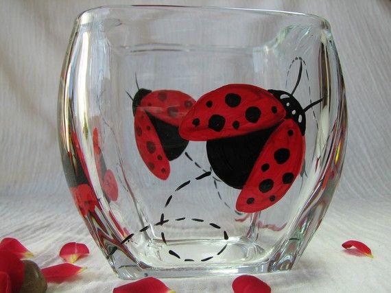 Lady Bug Wine Glass need to make this!