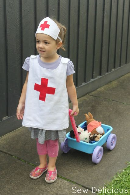 Anna Plays Nurse: Kids Nurse Costume || Sew Delicious #sewing #rolypolypinafore #costume