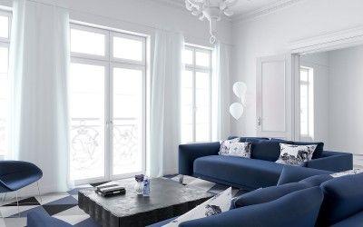 Blue&White Interior in Wroclaw, Poland / Projekt wnętrza mieszkania we Wrocławiu
